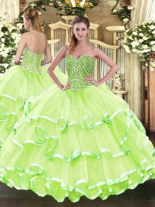 Adorable Yellow Green Ball Gowns Beading and Ruffled Layers Quince Ball Gowns Lace Up Tulle Sleeveless Floor Length