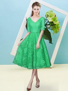 Latest Turquoise Half Sleeves Tea Length Bowknot Lace Up Bridesmaids Dress