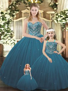 Charming Teal Sleeveless Tulle Lace Up Sweet 16 Quinceanera Dress for Military Ball and Sweet 16 and Quinceanera