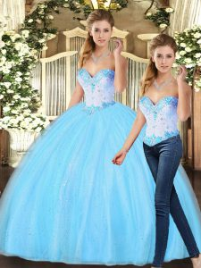 Ideal Baby Blue Sleeveless Tulle Lace Up 15 Quinceanera Dress for Military Ball and Sweet 16 and Quinceanera