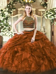 Chic Tulle Sleeveless Floor Length Quinceanera Dresses and Beading and Ruffles