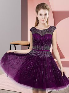Ideal Dark Purple Scoop Neckline Beading Prom Gown Sleeveless Backless
