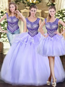 Tulle Scoop Sleeveless Lace Up Beading and Ruffles Quinceanera Gown in Lavender