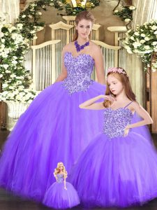 Superior Sweetheart Sleeveless Tulle 15 Quinceanera Dress Beading Lace Up