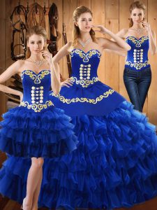 Sweetheart Sleeveless Ball Gown Prom Dress Floor Length Embroidery and Ruffled Layers Blue Tulle