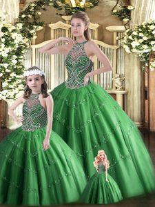 Dark Green Sleeveless Tulle Lace Up Quinceanera Dresses for Military Ball and Sweet 16 and Quinceanera