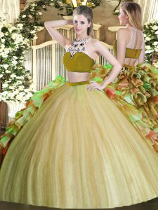 Olive Green Tulle Backless Bateau Sleeveless Floor Length Sweet 16 Dress Beading and Ruffles