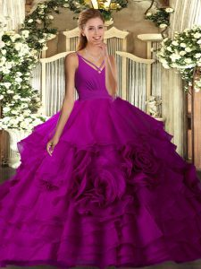 Modest Purple Fabric With Rolling Flowers Backless Ball Gown Prom Dress Sleeveless Floor Length Ruching