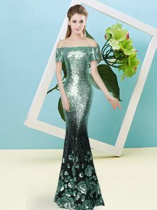 Sequined Short Sleeves Floor Length Prom Party Dress and Sequins