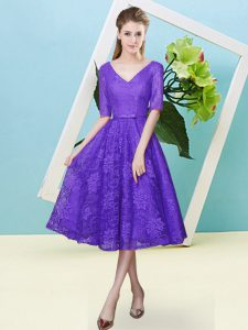 Purple Half Sleeves Tea Length Bowknot Lace Up Quinceanera Court Dresses