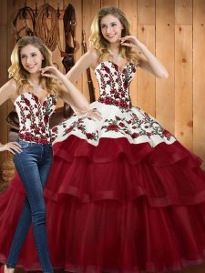 Edgy Wine Red Ball Gowns Embroidery Quinceanera Dresses Lace Up Organza Sleeveless