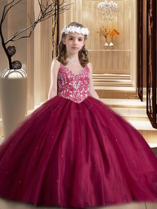 Modern Wine Red Ball Gowns Tulle V-neck Sleeveless Beading and Appliques Floor Length Lace Up Kids Formal Wear