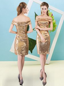 Trendy Mini Length Gold Prom Gown Off The Shoulder Short Sleeves Zipper