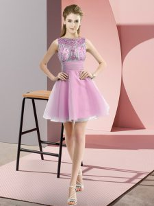 Trendy Rose Pink A-line Beading and Bowknot Homecoming Dress Zipper Chiffon Sleeveless Mini Length