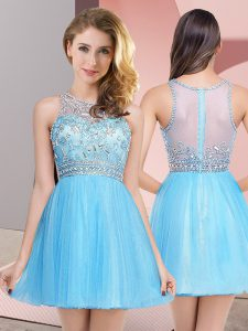 Baby Blue Empire Tulle Scoop Sleeveless Beading Mini Length Zipper Homecoming Dress