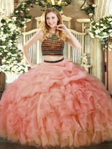 Halter Top Sleeveless Zipper Ball Gown Prom Dress Baby Pink Organza