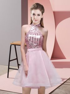 Custom Made Pink A-line Halter Top Sleeveless Chiffon Mini Length Backless Sequins Quinceanera Court of Honor Dress