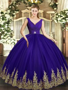 Tulle Sleeveless Floor Length Quinceanera Gowns and Beading and Appliques