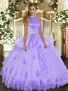 Custom Design Sleeveless Backless Floor Length Beading and Ruffles Sweet 16 Dresses