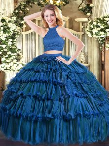 Blue Sleeveless Beading and Ruffled Layers Floor Length Ball Gown Prom Dress