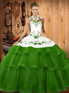 Free and Easy Green Quinceanera Gowns Military Ball and Sweet 16 and Quinceanera with Embroidery and Ruffled Layers Halter Top Sleeveless Sweep Train Lace Up
