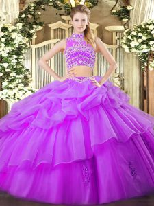 Free and Easy High-neck Sleeveless Tulle 15 Quinceanera Dress Beading and Ruffles and Pick Ups Backless