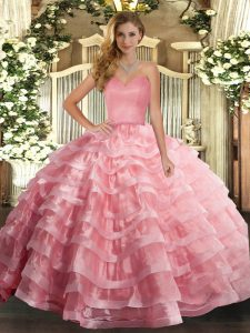 High Class Watermelon Red Ball Gowns Ruffled Layers Quince Ball Gowns Lace Up Organza Sleeveless Floor Length