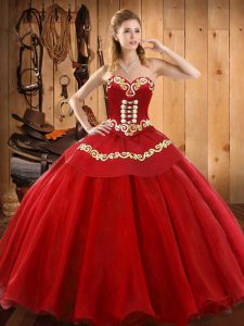 Flirting Red Ball Gowns Ruffles Vestidos de Quinceanera Lace Up Tulle Sleeveless Floor Length