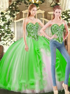 Tulle Sweetheart Sleeveless Lace Up Beading Quinceanera Dress in