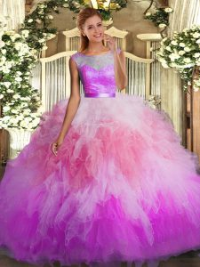 Sexy Multi-color Organza Backless Scoop Sleeveless Floor Length Sweet 16 Dresses Lace and Ruffles