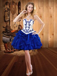 Strapless Sleeveless Organza Embroidery and Ruffles Lace Up