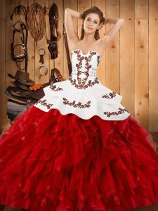 Wonderful Wine Red Strapless Lace Up Embroidery and Ruffles Vestidos de Quinceanera Sleeveless