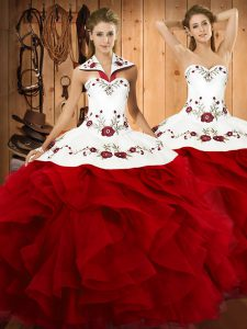 Pretty Floor Length Wine Red Quinceanera Dress Satin and Organza Sleeveless Embroidery and Ruffles