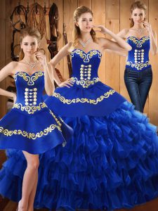 Blue Ball Gown Prom Dress Military Ball and Sweet 16 and Quinceanera with Embroidery and Ruffled Layers Sweetheart Sleeveless Lace Up