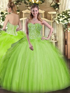 Yellow Green Sleeveless Floor Length Beading and Ruffles Lace Up Vestidos de Quinceanera
