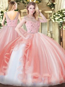 Noble Floor Length Peach Quinceanera Gown Bateau Sleeveless Zipper
