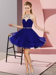 Exceptional Beading Homecoming Dress Blue Zipper Sleeveless Mini Length
