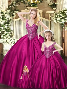 Captivating Sleeveless Organza Floor Length Lace Up Vestidos de Quinceanera in Fuchsia with Beading