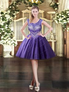 Best Purple Zipper Prom Evening Gown Beading Sleeveless Mini Length