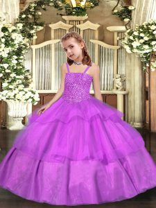 Lilac Little Girls Pageant Gowns Sweet 16 and Quinceanera with Beading and Ruffled Layers Straps Sleeveless Lace Up