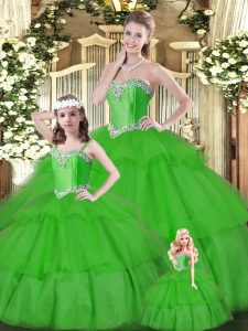 Green Sleeveless Organza Lace Up 15th Birthday Dress for Military Ball and Sweet 16 and Quinceanera