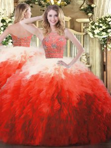 Adorable Sleeveless Zipper Floor Length Beading and Ruffles Sweet 16 Dress