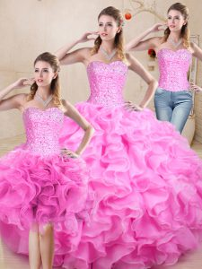 Simple Beading and Ruffles Quinceanera Dresses Lilac Lace Up Sleeveless Floor Length