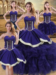 Sweetheart Sleeveless 15 Quinceanera Dress Floor Length Beading and Ruffles Purple Satin