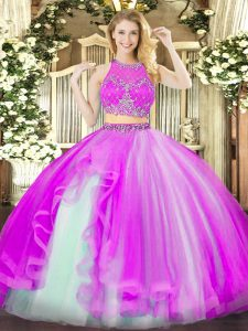 Fuchsia Quinceanera Gown Military Ball and Sweet 16 and Quinceanera with Beading and Ruffles Scoop Sleeveless Zipper