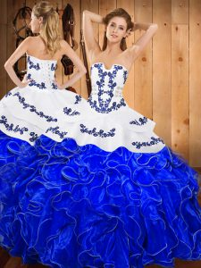Floor Length Ball Gowns Sleeveless Blue And White Quinceanera Gowns Lace Up