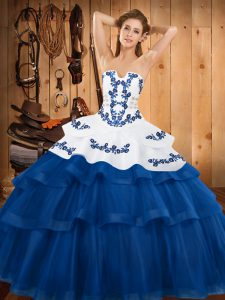 Custom Fit Blue Sweet 16 Dresses Strapless Sleeveless Sweep Train Lace Up