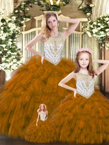 High Class Brown Sleeveless Beading and Ruffles Floor Length Sweet 16 Quinceanera Dress