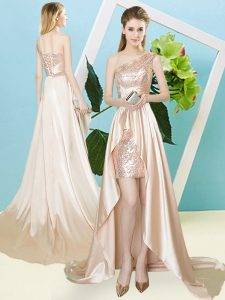 Champagne Prom Dresses Prom and Party with Sequins One Shoulder Sleeveless Lace Up