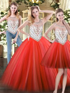 Beauteous Scoop Sleeveless Zipper Sweet 16 Dress Coral Red Tulle